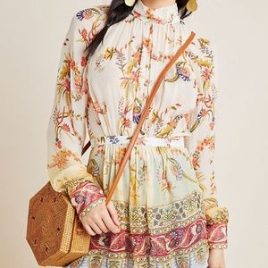 Tanvi Kedia Mira Tie-Waist Floral Sheer Tunic